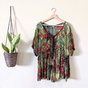 Urban Outfitters Ecote Oversize Palm Print Romper